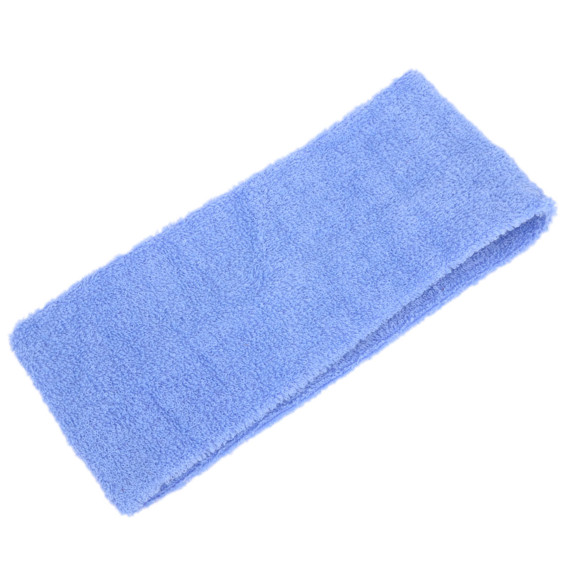 Lady 7cm Width Exercises Sport Yoga Face Washing Stretchy Headband Steel Blue 2 Pcs