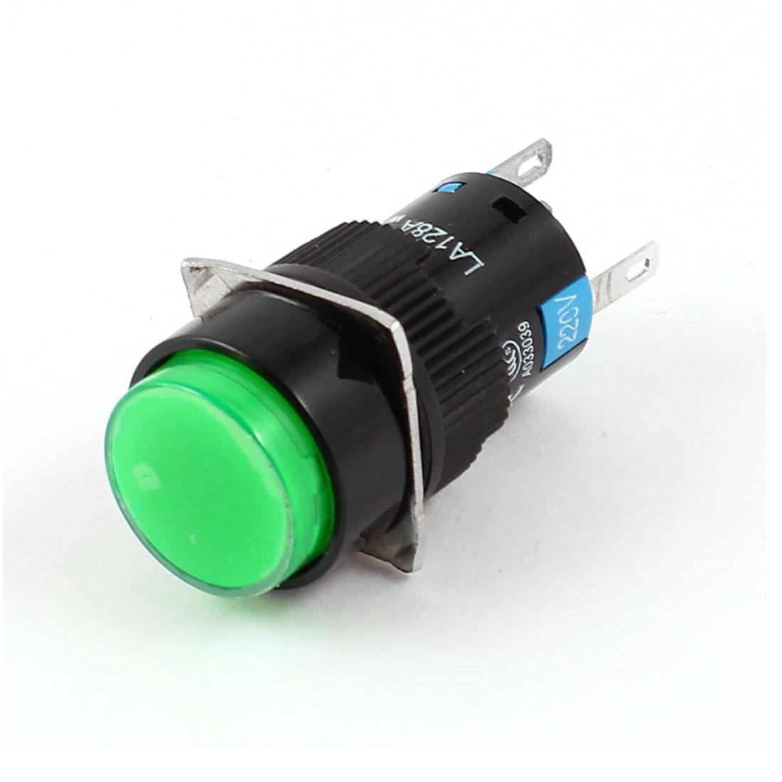 Green Light SPDT 5 Pin Latching Round Push Button Switch AC250V/220V 5A