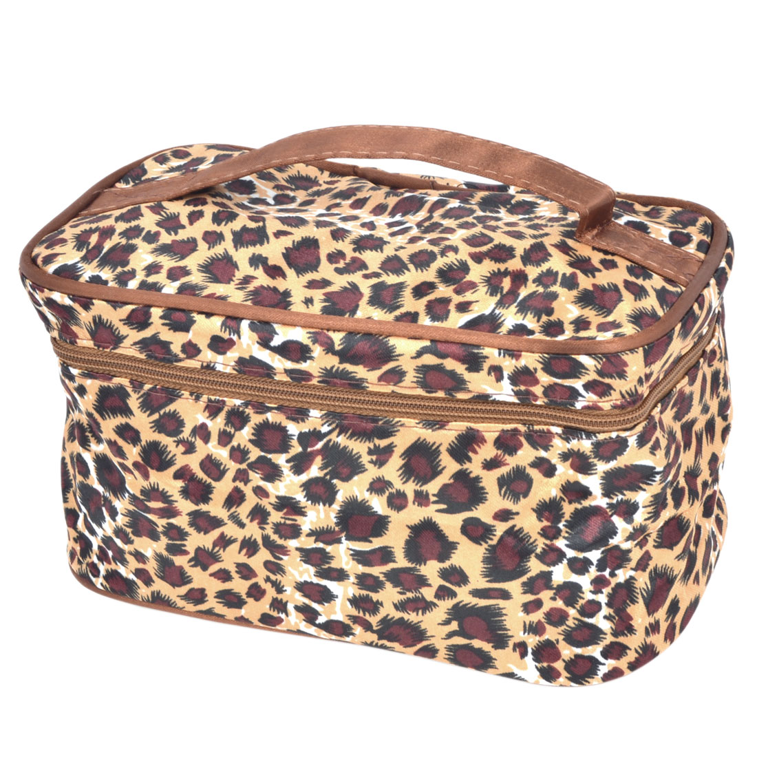Lady Maroon Beige Leopard Print zipper Closure Cosmetic Storage Bag w Mirror