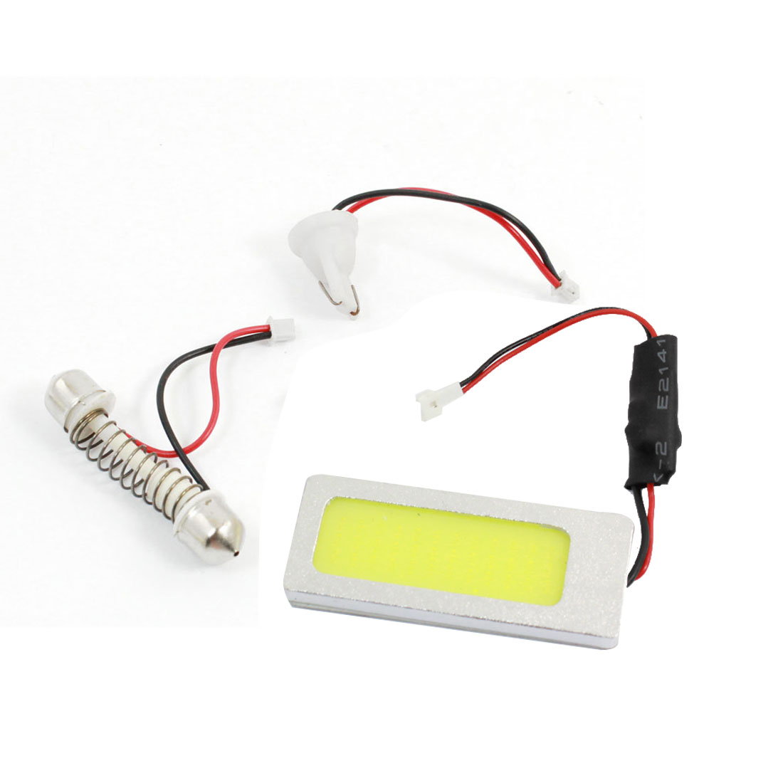 Auto White 36 COB Roof Dome Light Panel 12V w T10 Festoon Adapter internal