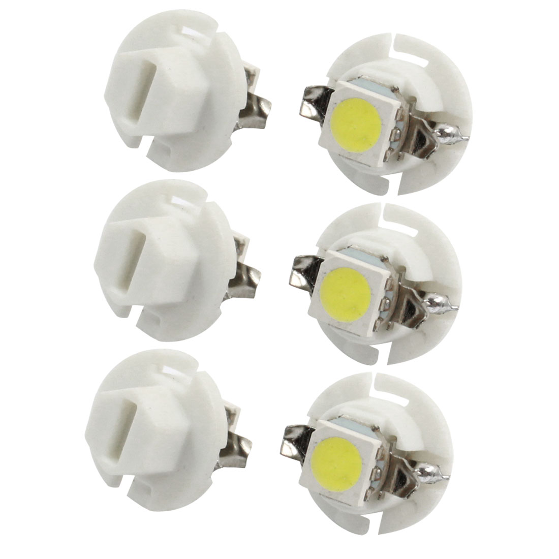 6 Pcs T5 B8.4D 5050 SMD 1-LED Dashboard Light Signal Bulb White for Car Internal