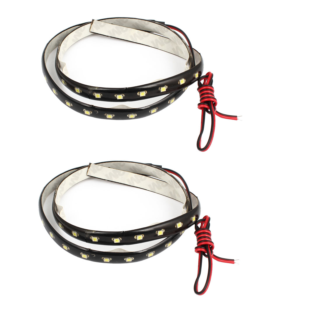 2 Pcs Car Decorative Lamp White 1210 45 SMD LEDs Light Strip Bar 60cm Long internal