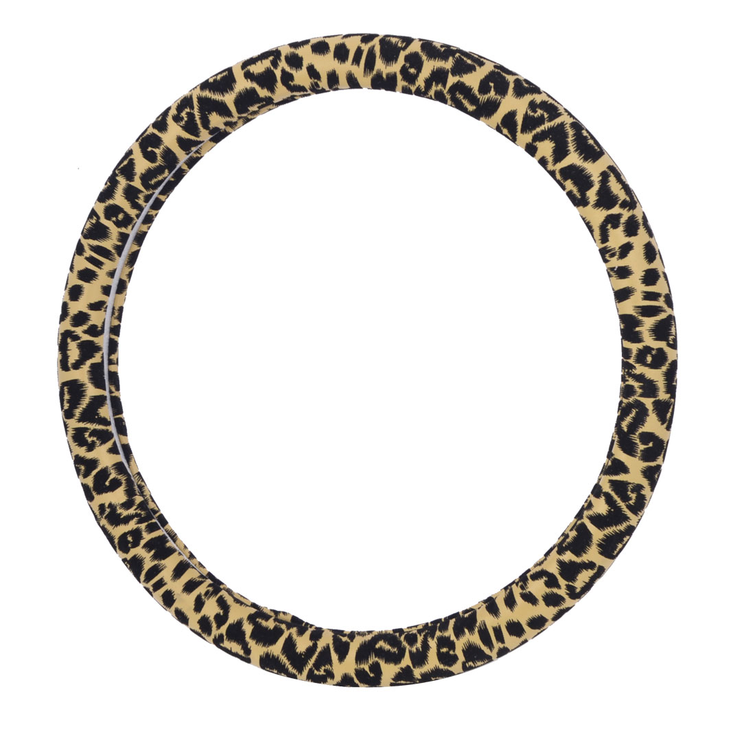 36cm Dia Black Brown Leopard Print Coated Steering Wheel Cover Protector for Car