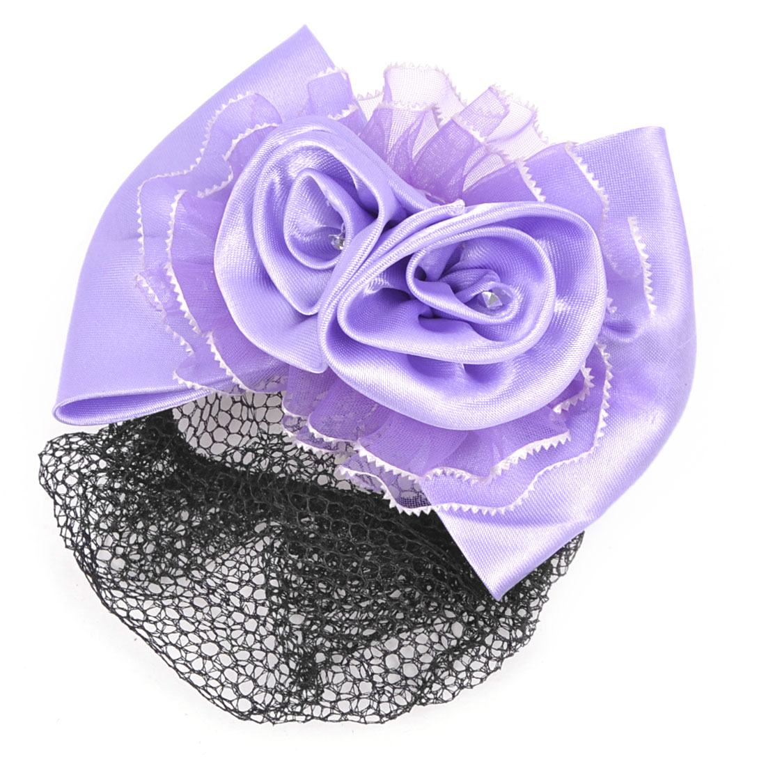 Lady Black Mesh Light Purple Bowknot French Snood Hair Clip