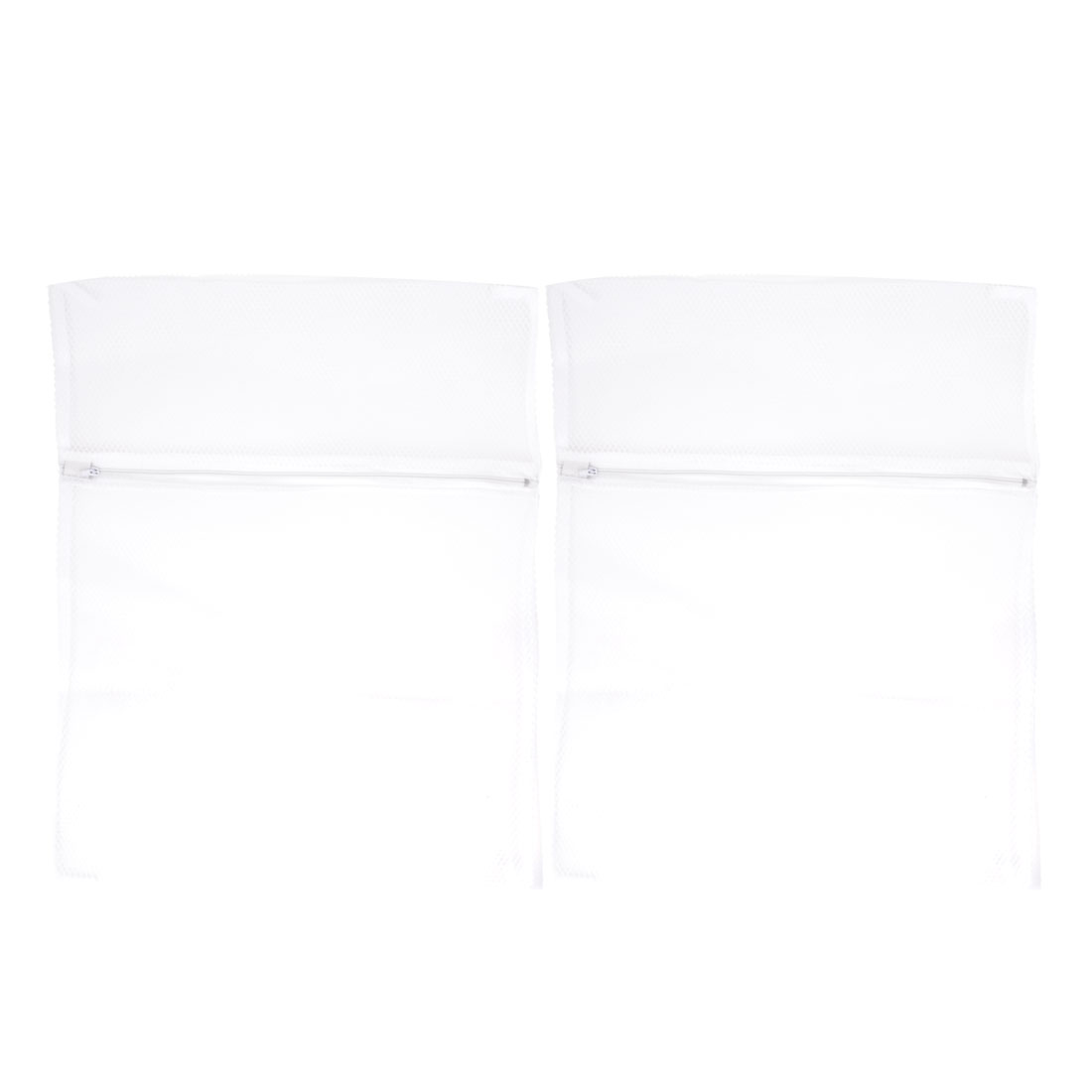 Home Zipper Closure White Polyester Mesh Clothes Washing Bag 48cm x 38cm 2Pcs