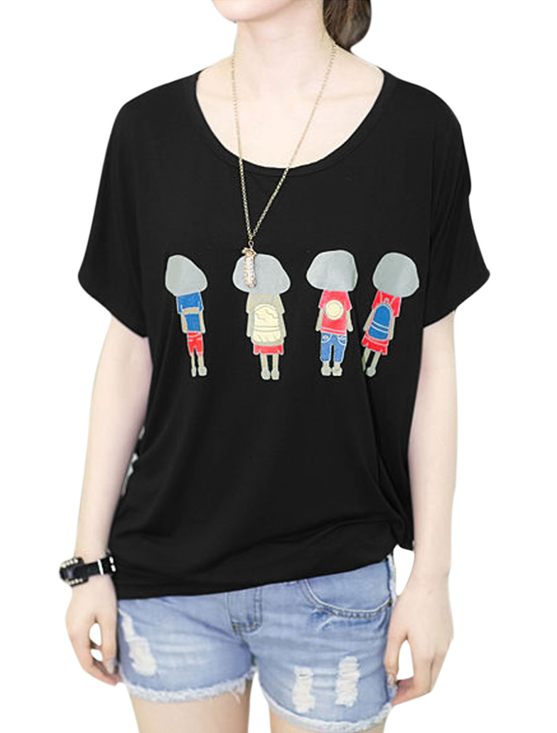 Women Short Dolman Sleeve Cartoon Portrait Prints Loose T-Shirt Black S