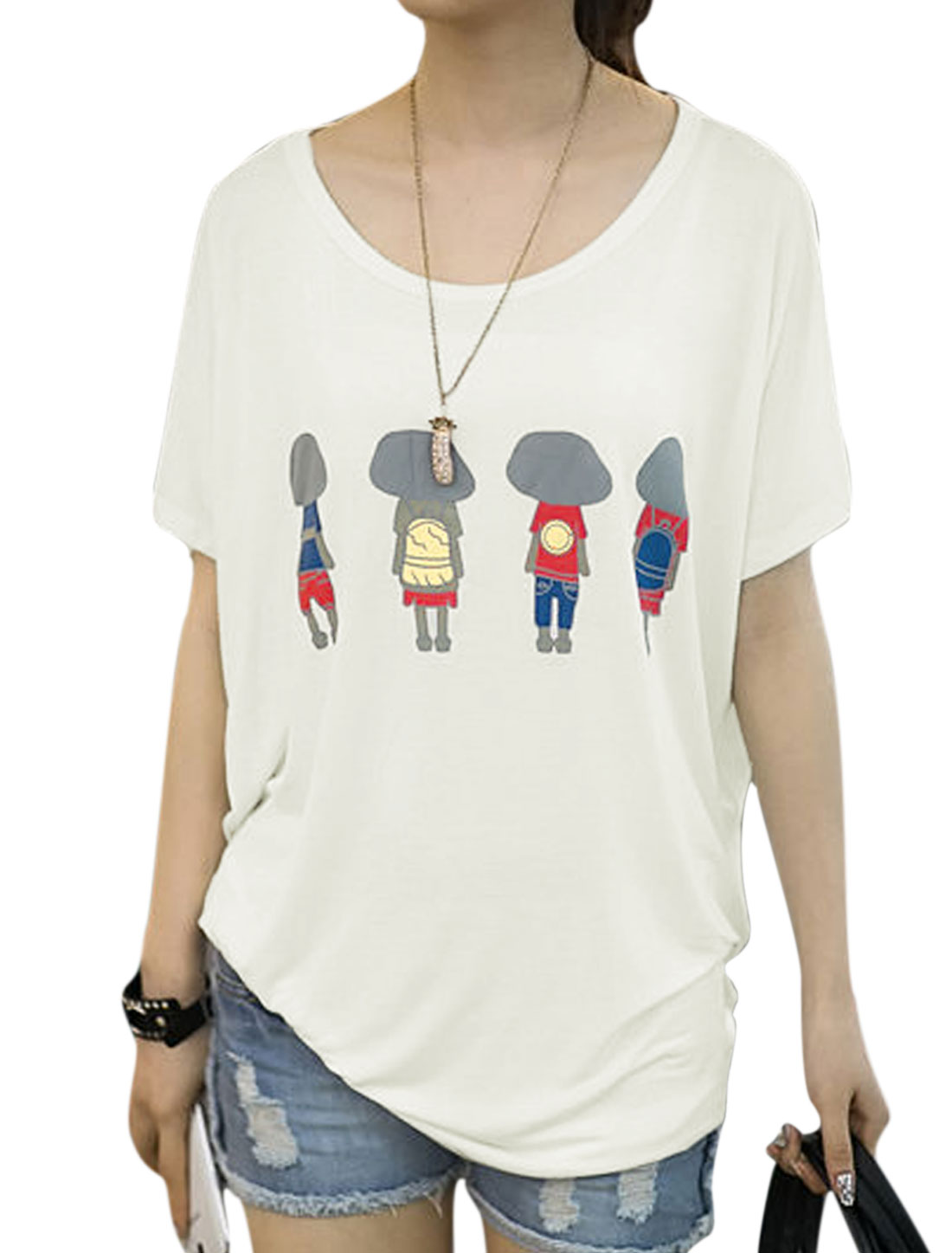 Women Short Dolman Sleeve Cartoon Portrait Prints Casual T-Shirt White S