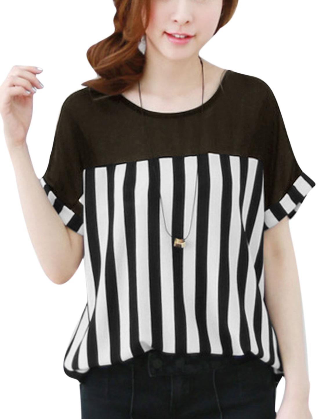 Lady Stripes Panel Design High Low Hem Chiffon Blouse Black White S