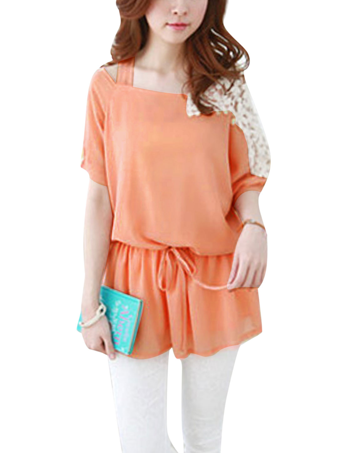 Lady Cut Out Design Crochet Panel Drawcord Waist Lining Top Coral S