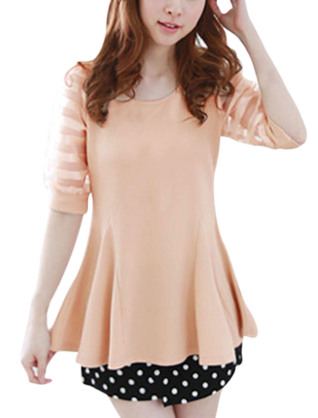Lady Half Sleeve Organza-Patched Sleeve Stripes Peplum Top Salmon S