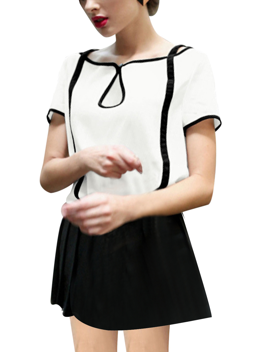 Woman's Short Sleeve Button Loop Closure Pullover Chiffon Top White S