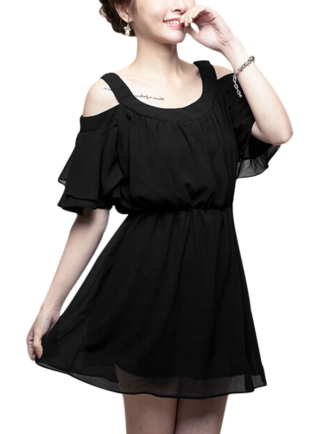 Lady Layered Flouncing Sleeve Cut Out Shoulder Fully Lined Chiffon Dress Black S