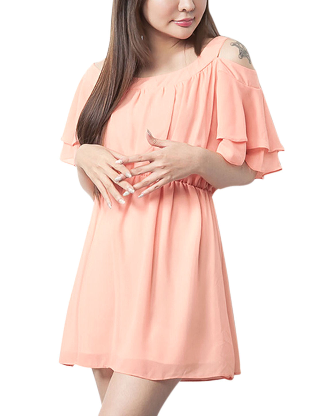 Lady Layered Flouncing Sleeve Cut Out Shoulder Pullover Dress Salmon S
