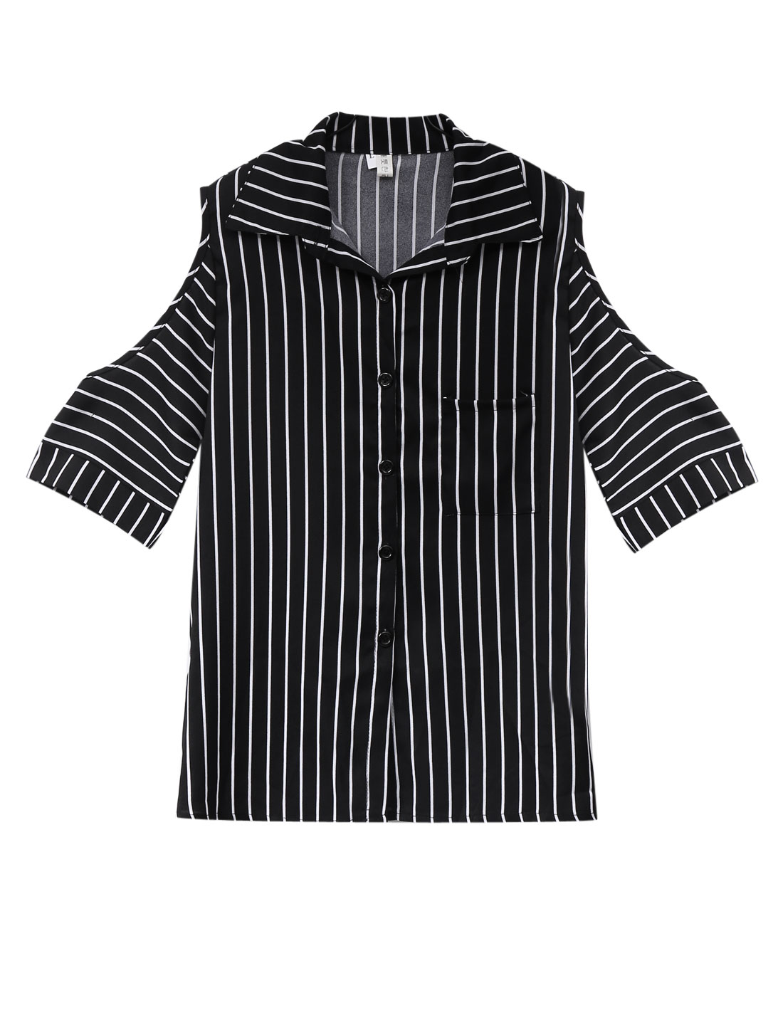 Lady Button Front 1/2 Sleeve Stripes Cut Out Shoulder Shirt Black XS