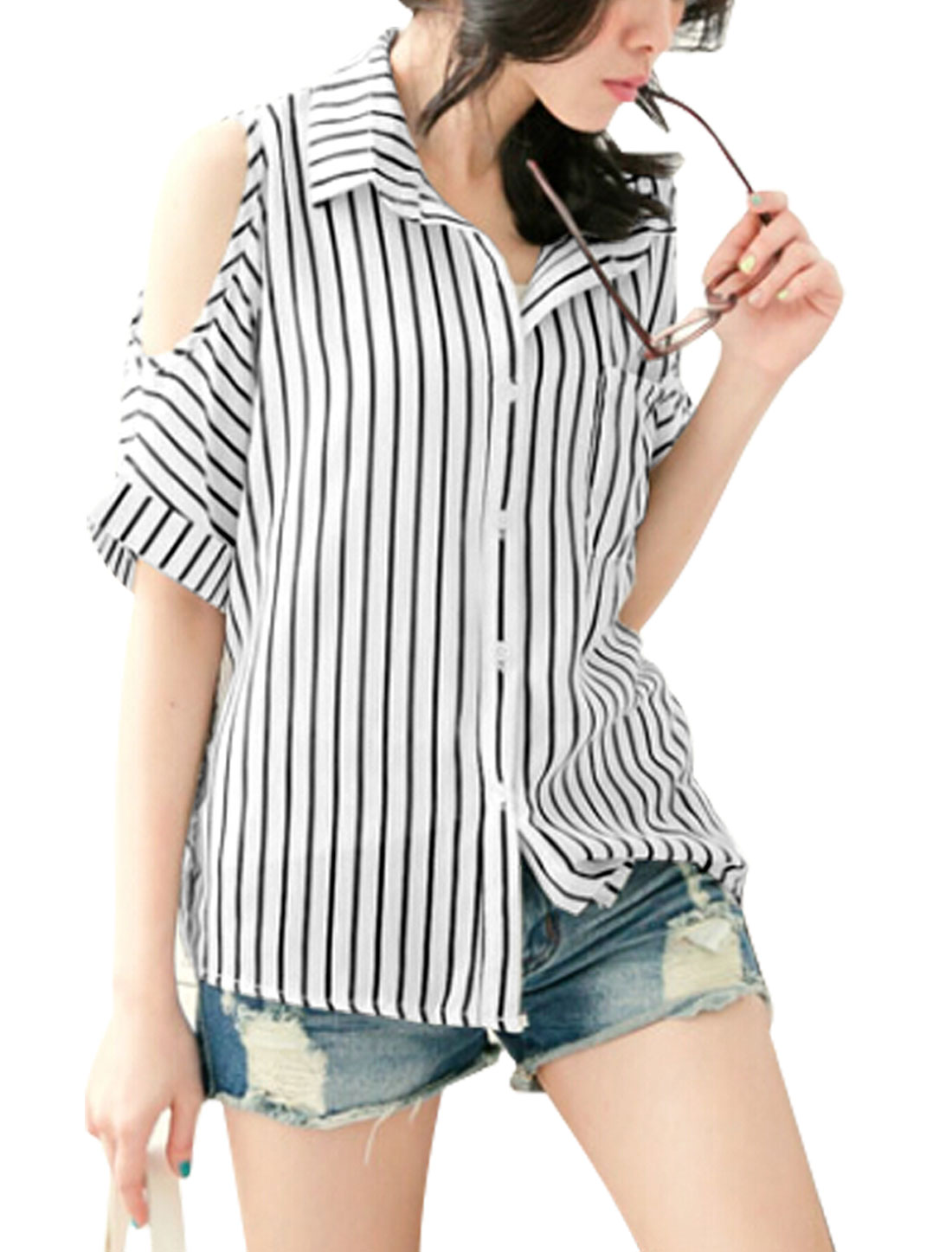 Lady Single Breasted Elbow Sleeve Stripes Cut Out Shoulder Shirt White XS