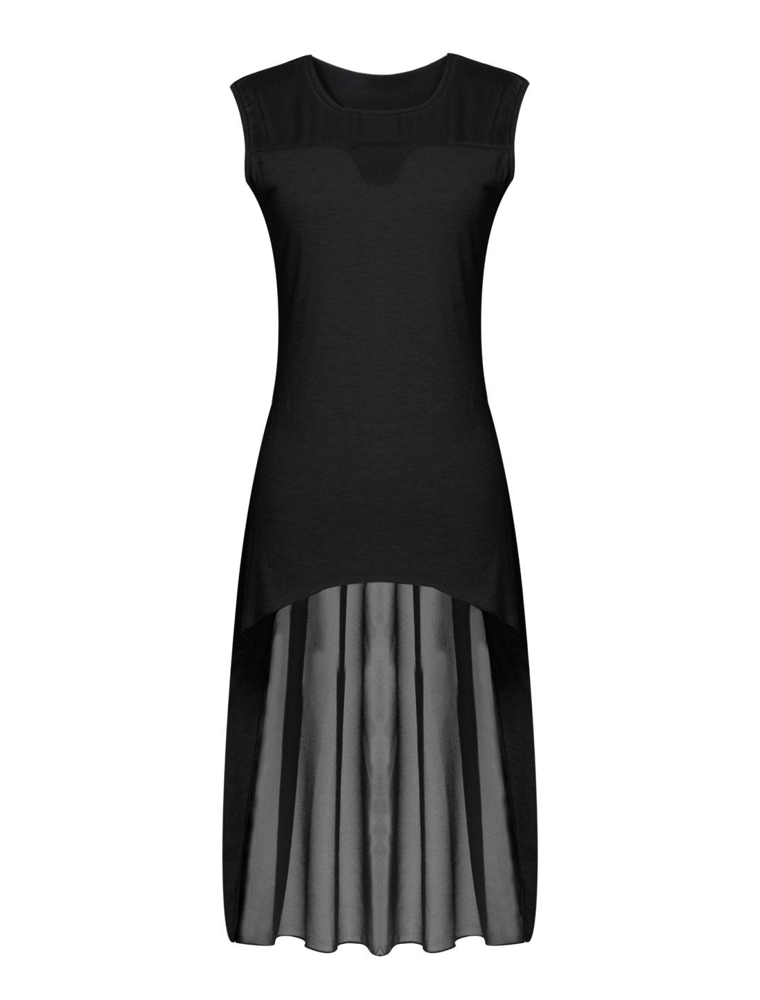 Lady Sleeveless Chiffon Panel Semi Sheer High Low Hem Tunic Top Black M