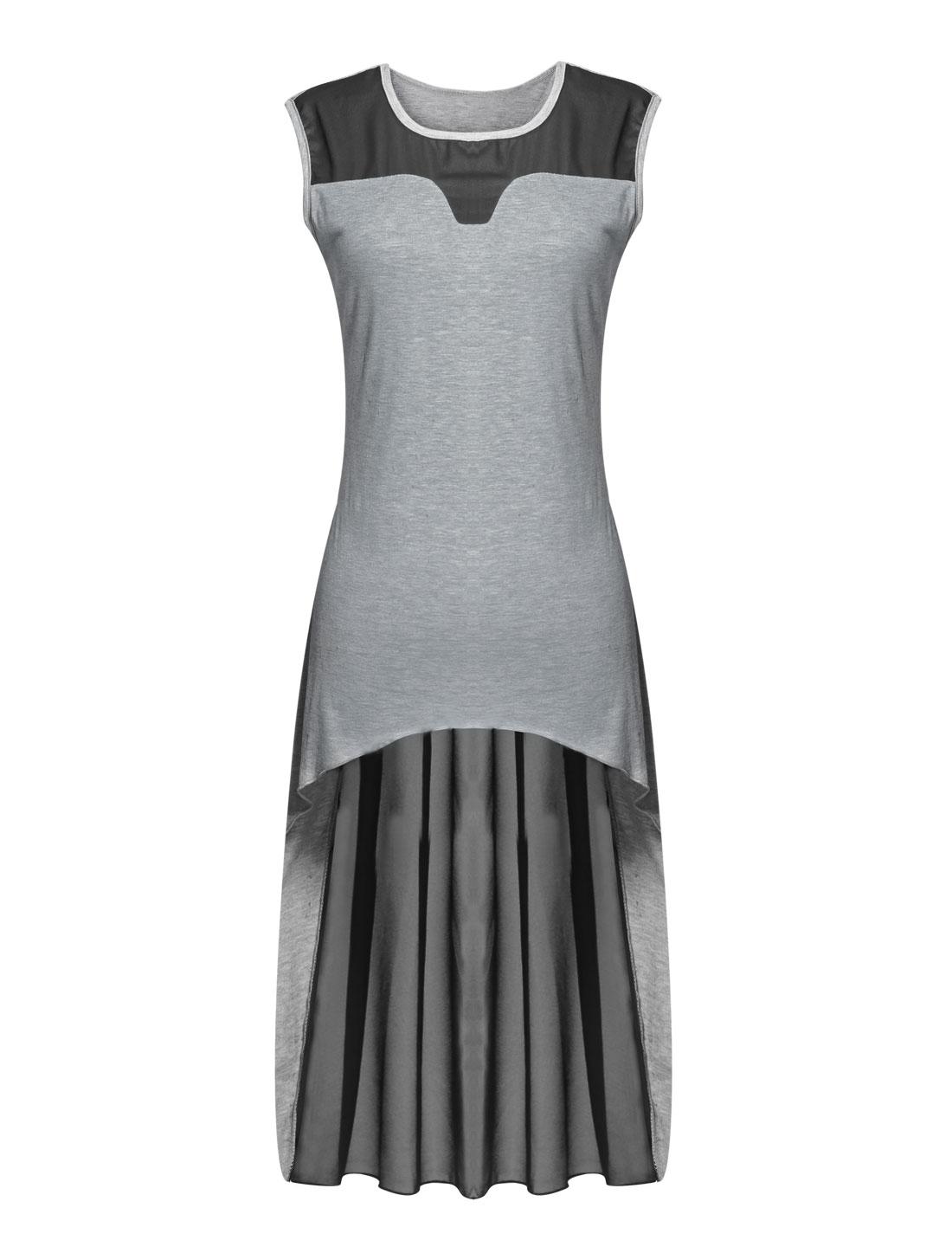 Lady Sleeveless Chiffon Panel High Low Hem Tunic Top Light Gray M