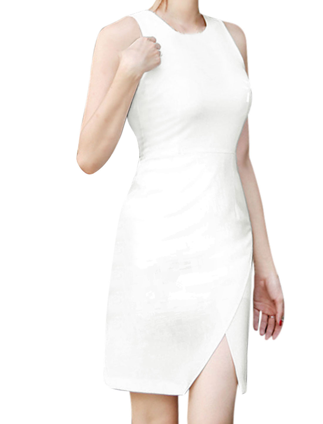 Lady Sleeveless Concealed Zipper Back Crossover Split Front Dress White XS