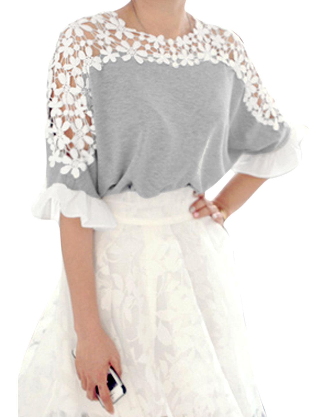 Lady Half Batwing Sleeve Crochet Panel Self-tie Bowknot Back Top Gray XS
