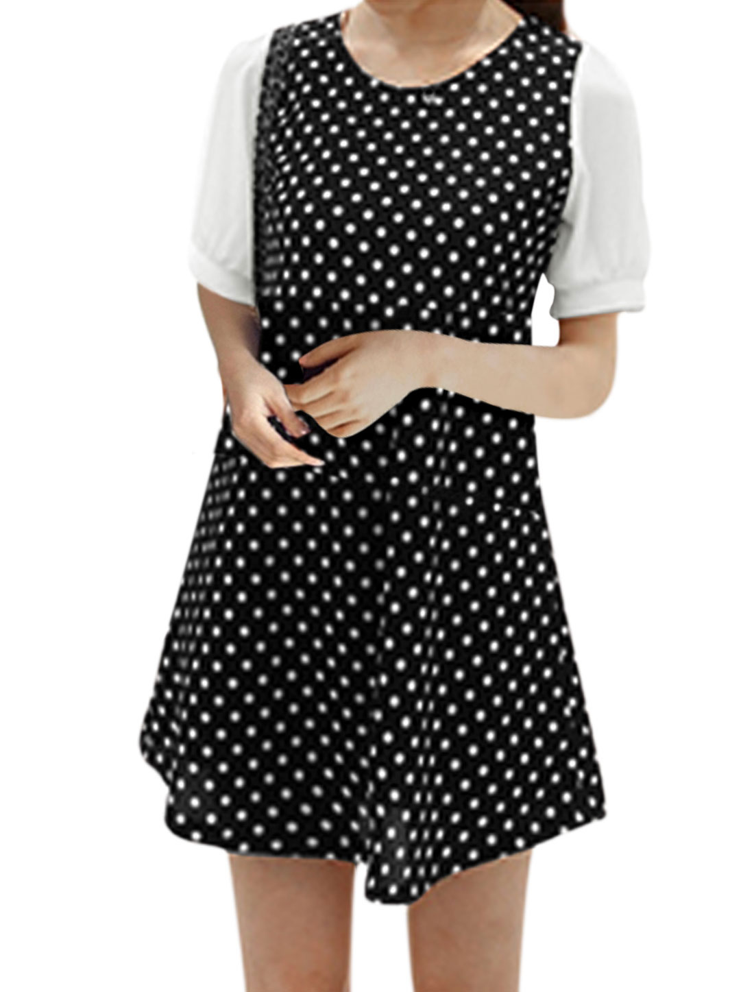 Lady Short Chiffon Contrast Sleeve All-over Dots Prints A-Line Dress Black M