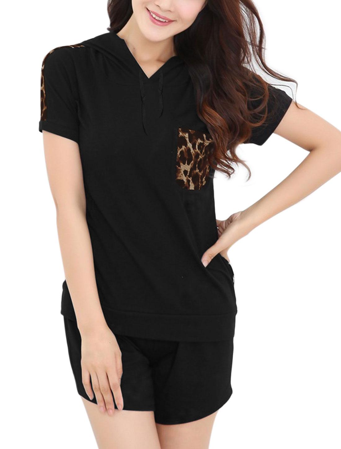 Lady Drawstring Hooded Leopard Prints Top w Elastic Waist Shorts Set Black XS
