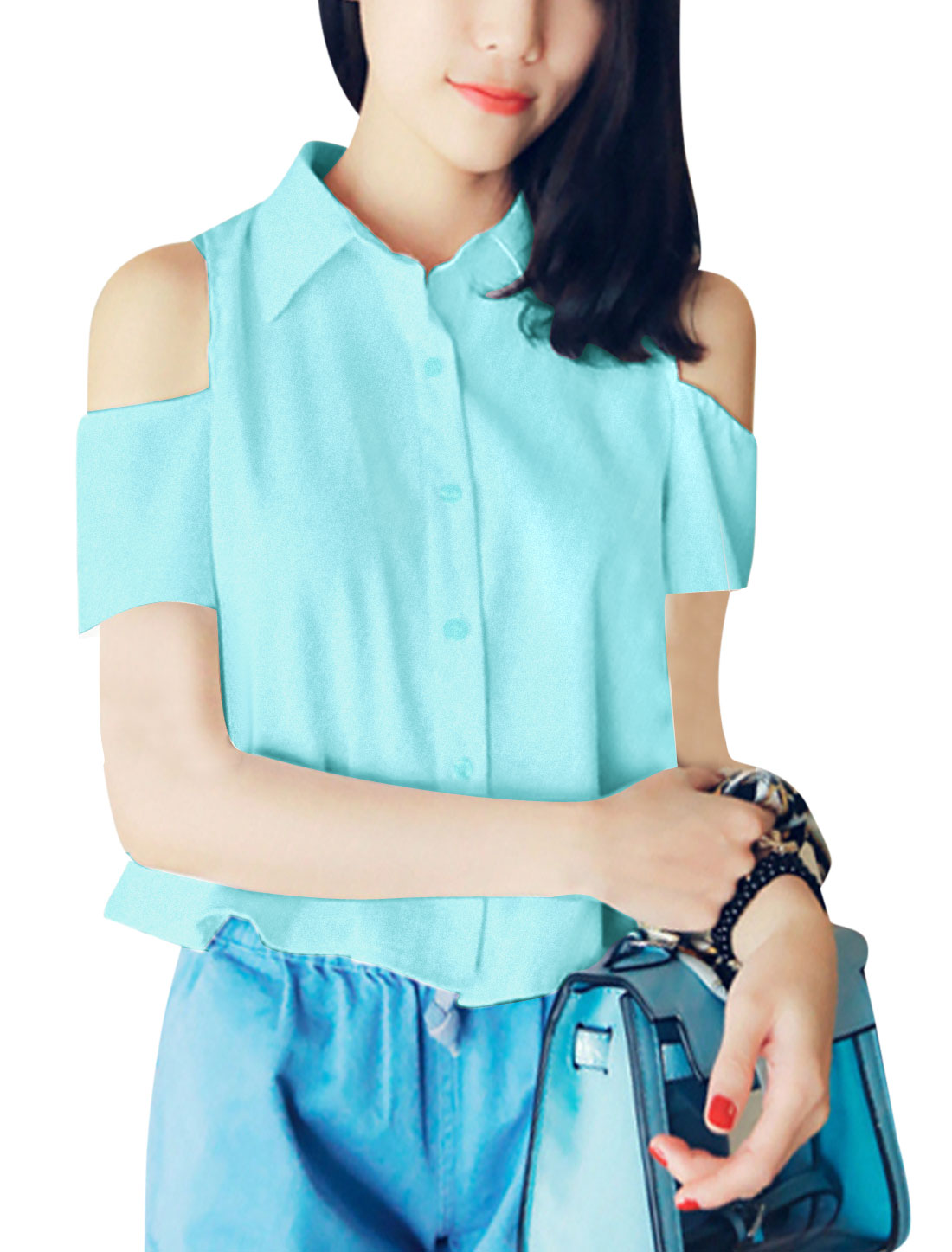 Lady Point Collar Cut Out Shoulder Button Front Shirt Light Blue XS