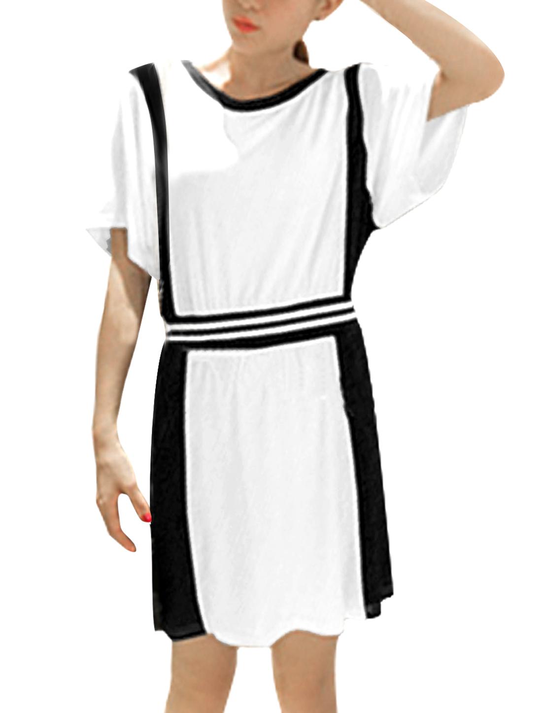 Lady Round Neck Short Sleeve Elastic Waist Colorblock Dress Black White S