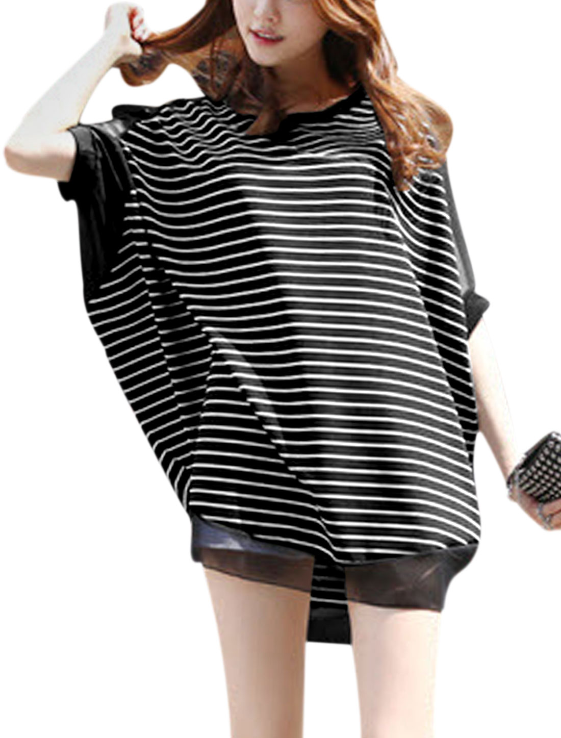 Women Chiffon-Patched Raglan Sleeve Stripes Loose Tunic Top Black S