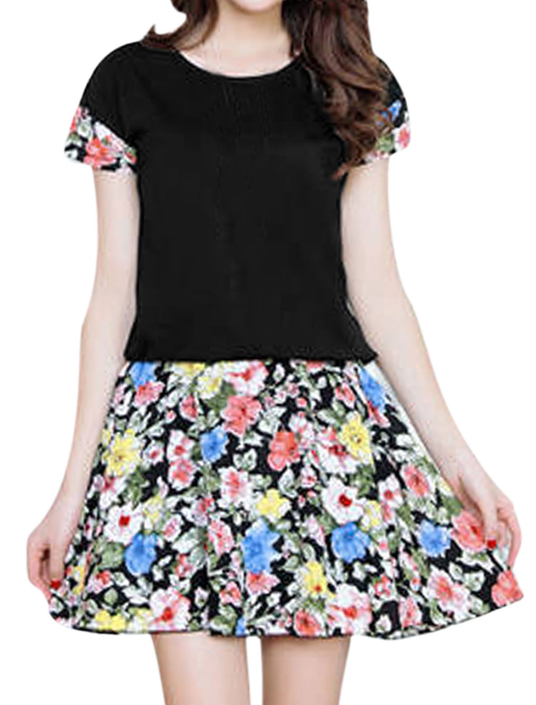 Lady's Short Sleeve Spliced Floral Prints Stretchy Waist Short Dress Black S