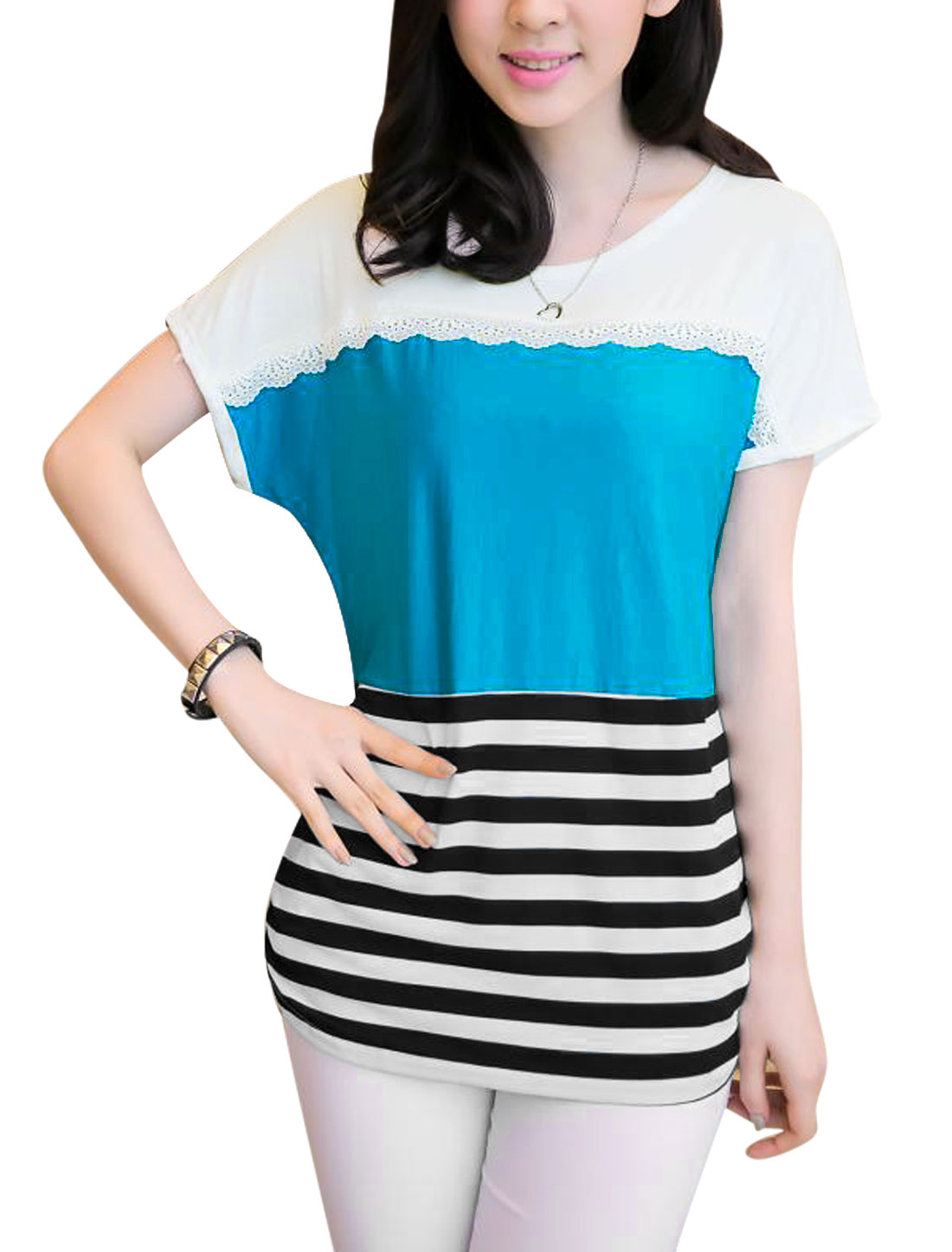 Lady's Stripes Print Contrast Color Gathered Detail Tee Shirt Blue XS