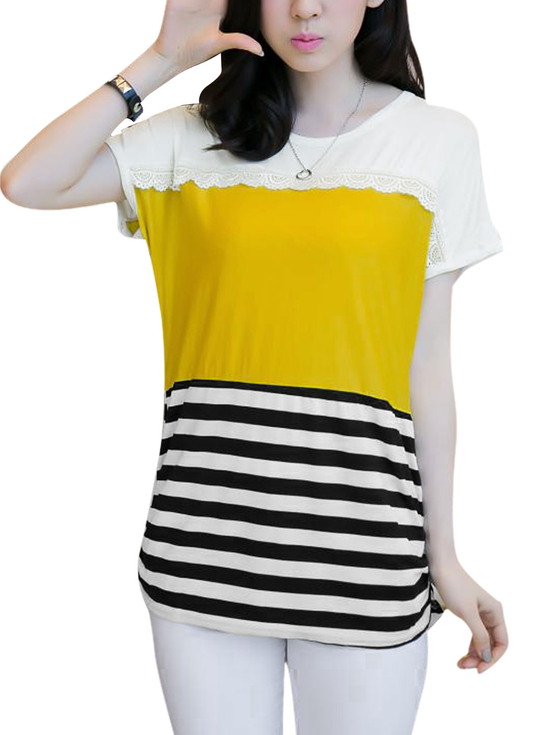 Women Stripes Print Gathered Detail Lace Trimmed T Shirt Yellow XS