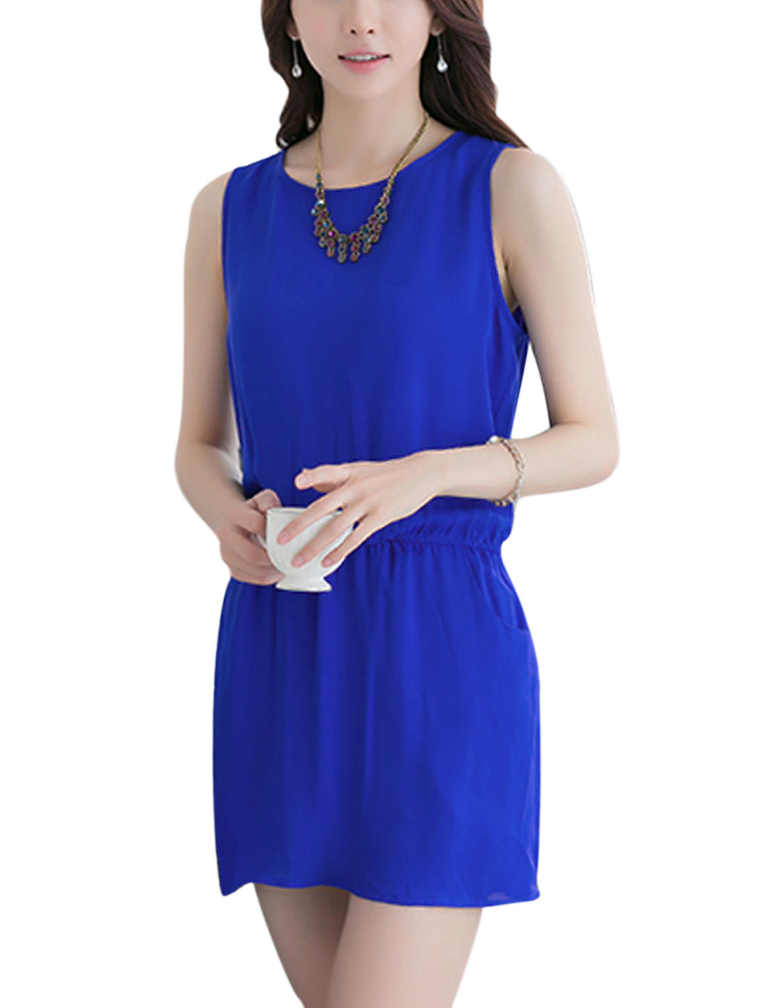 Lady Sleeveless Elastic Waist Unlined Semi Sheer Chiffon Dress Royal Blue S