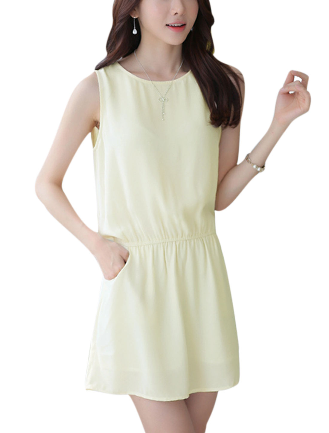 Lady Sleeveless Elastic Waist Unlined Chiffon Dress Light Yellow S