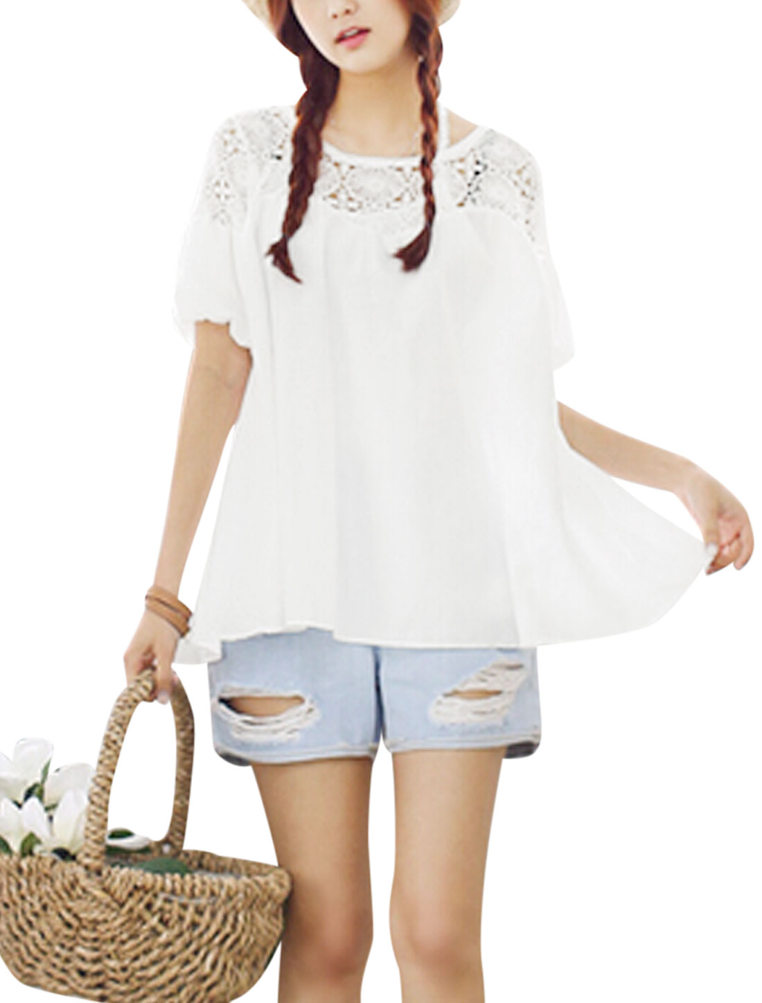 Lady Elastic Cuffs Crochet Splicing Semi Sheer Chiffon Blouse White S