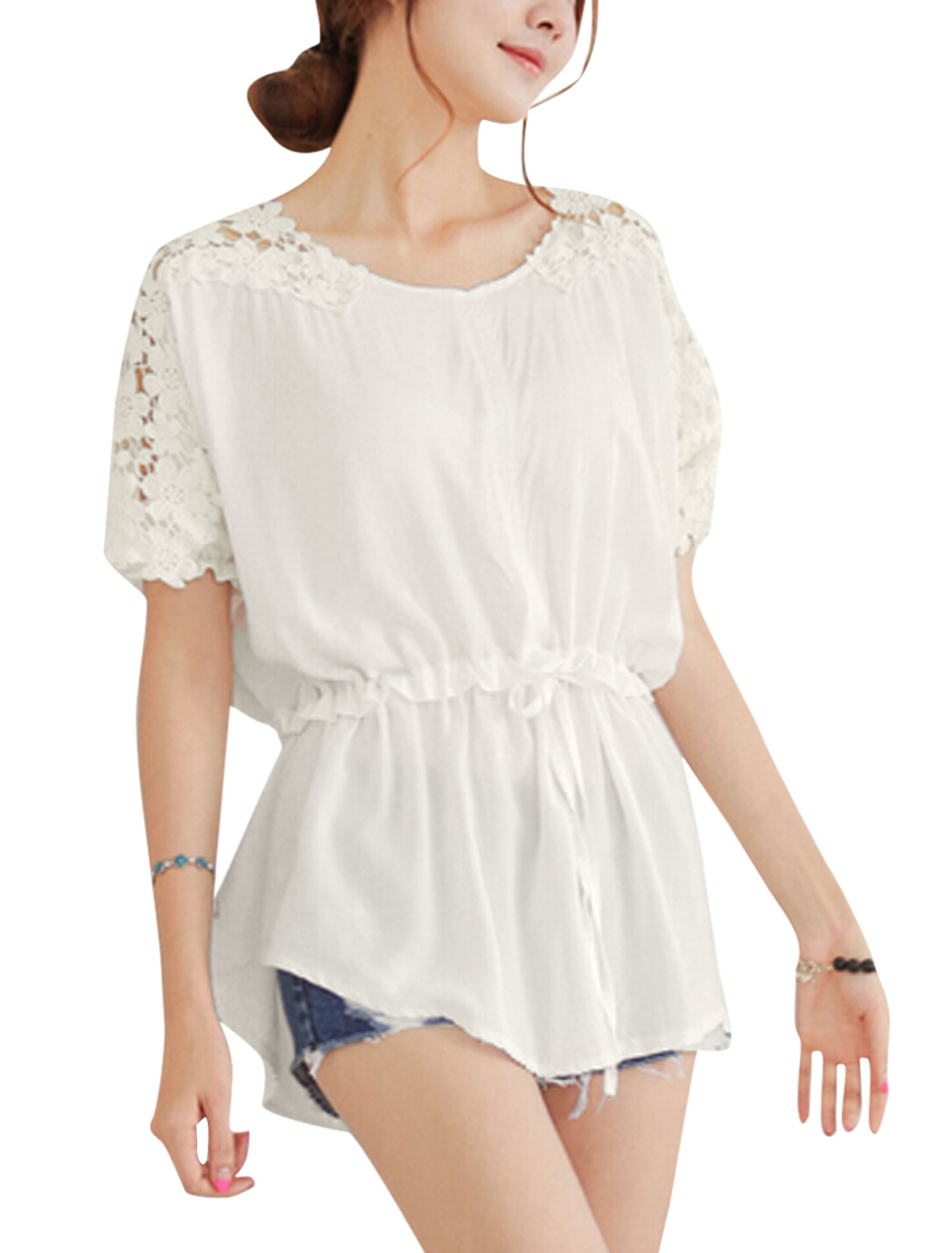 Lady Short Batwing Sleeve Crochet Panel Drawstring Waist Blouse White S