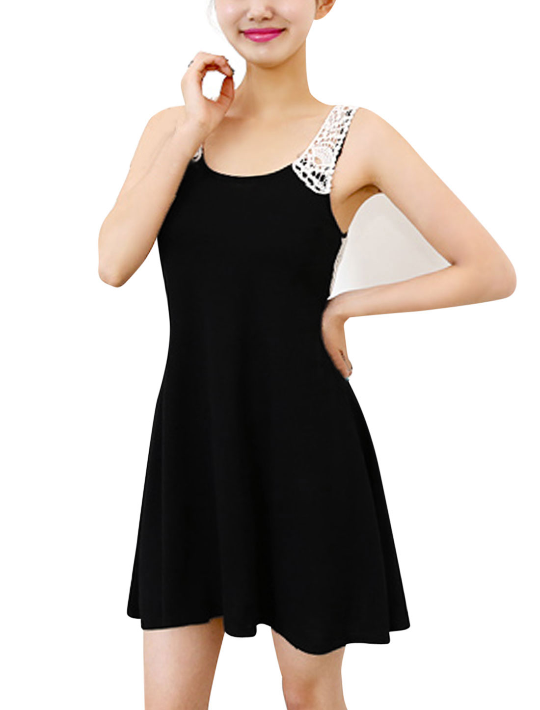 Lady's Crochet Panel U Neck Slim Fit Above Knee Dress Black XS