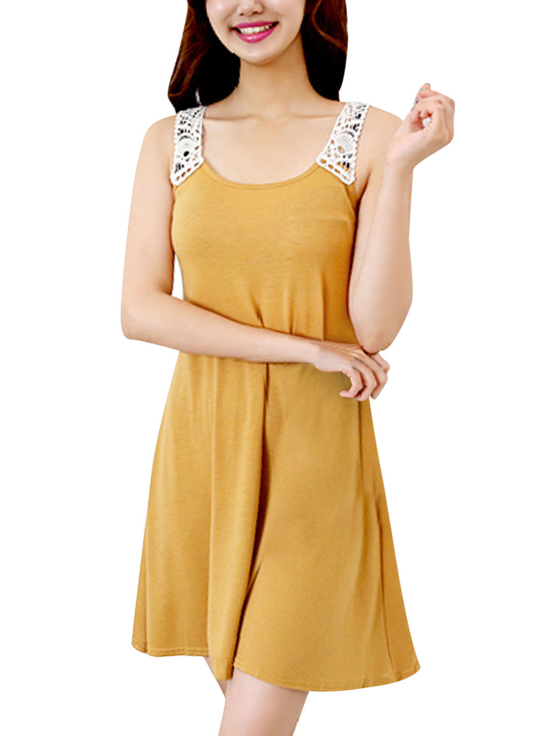 Woman Crochet Panel Pullover Slim Fit Mini Dress Mustard XS