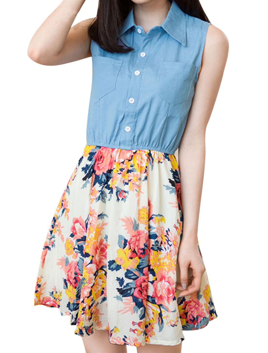 Women 1/2 Placket Floral Prints Panel Design Shirt Dress Multicolor XS