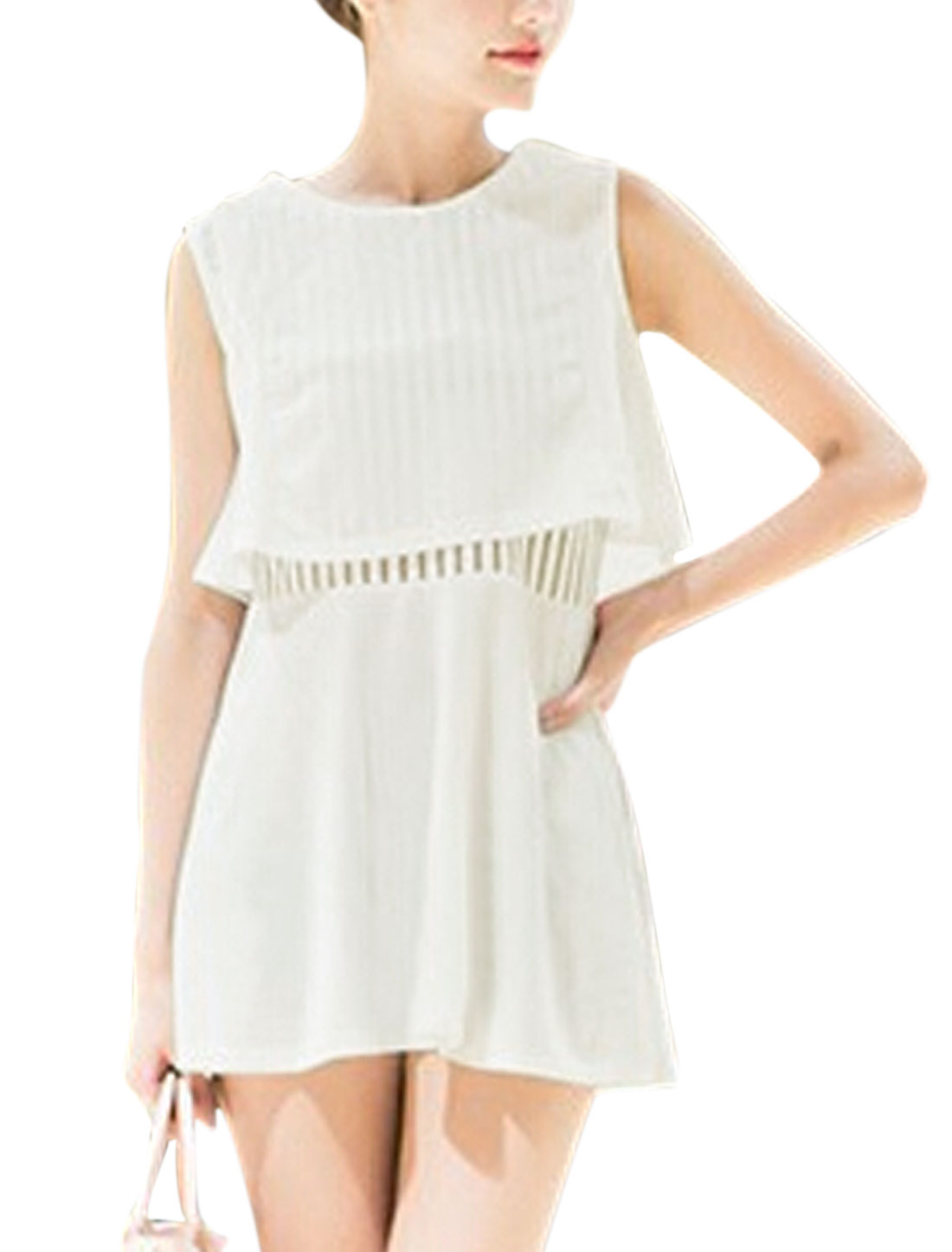 Lady Sleeveless Mesh Panel Layered Design A-Line Dress White S