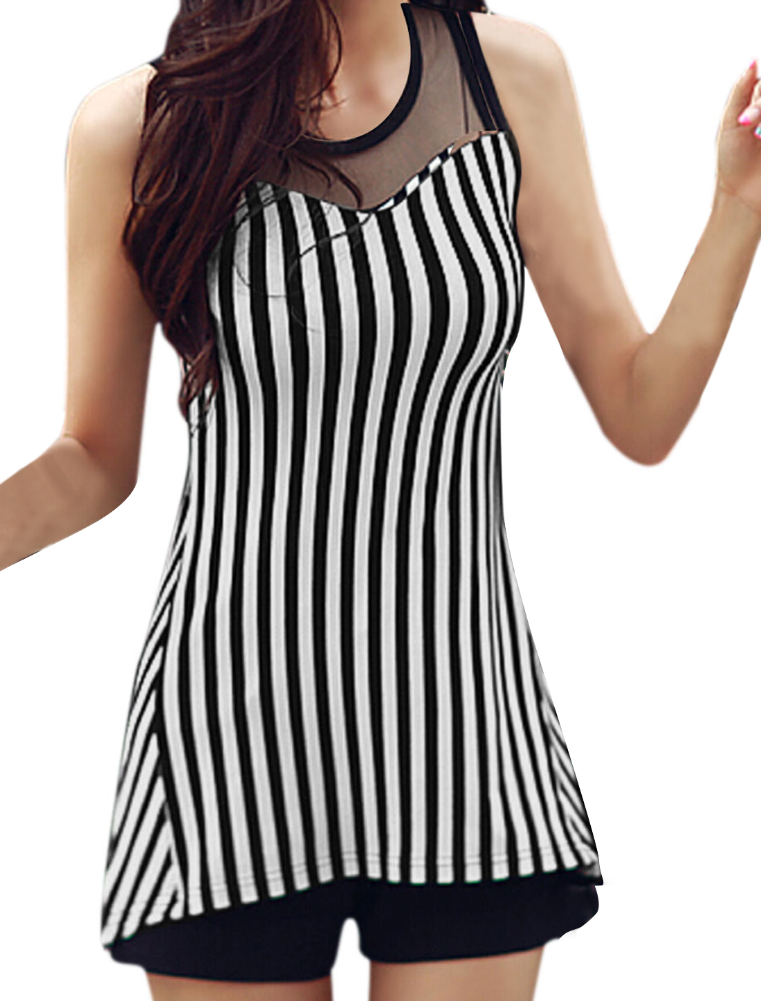 Lady Sleeveless Mesh Panel York Stripes High Low Hem Tunic Top Black White S