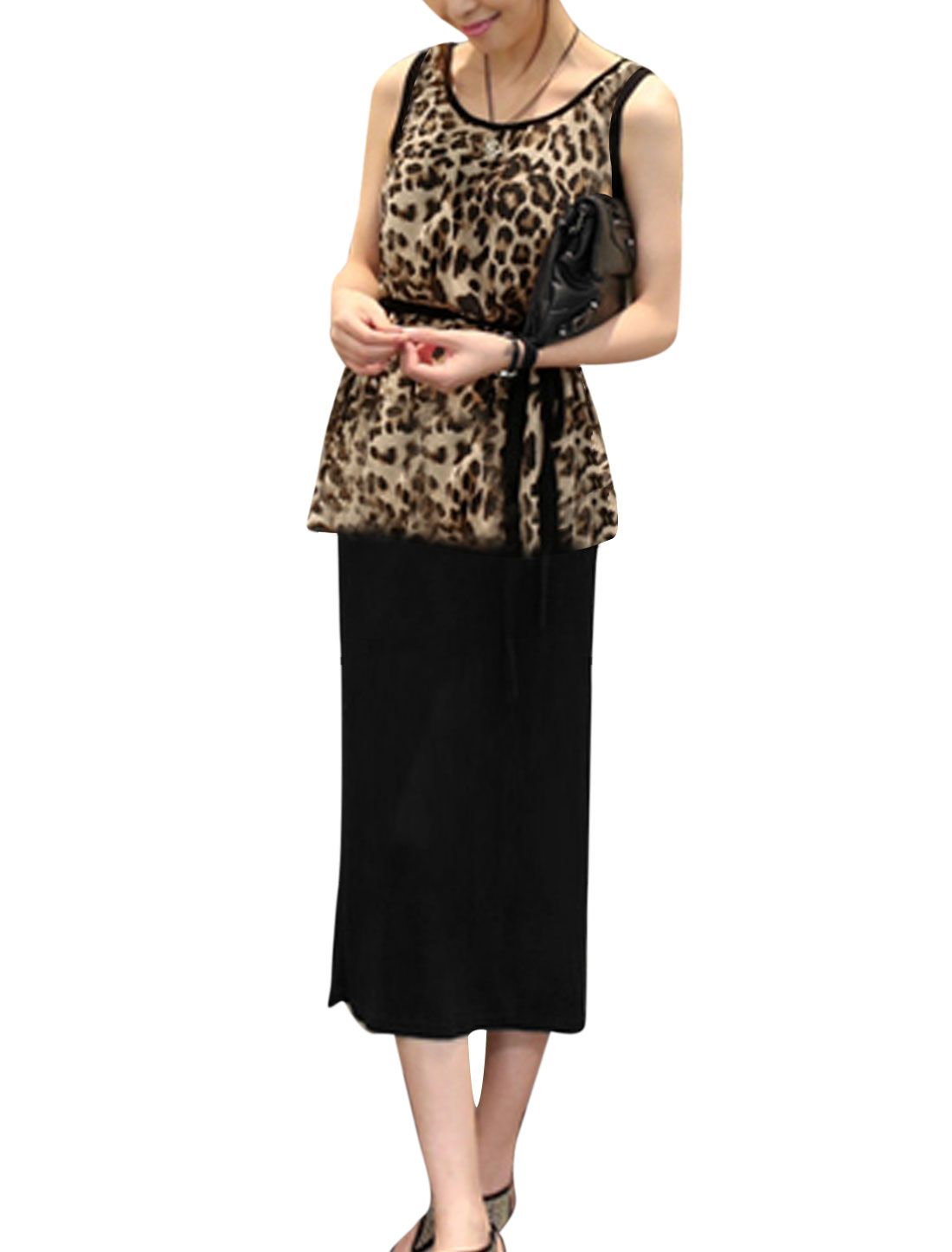 Lady Layered Design Leopard Prints Dress w Waist String Black Brown S