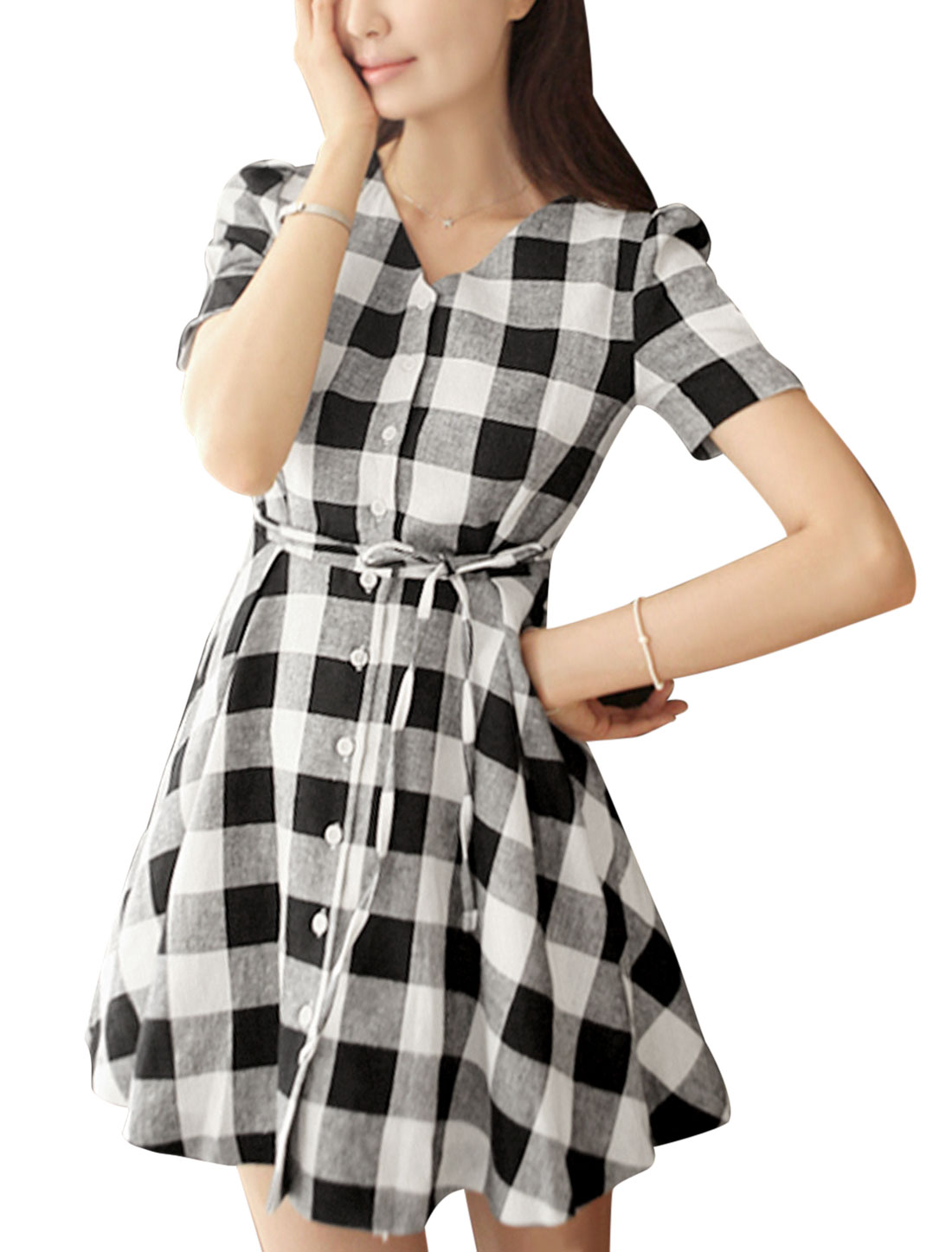 Lady Plaids Single Breasted Drawstring Waist Shirt Dress Black White M