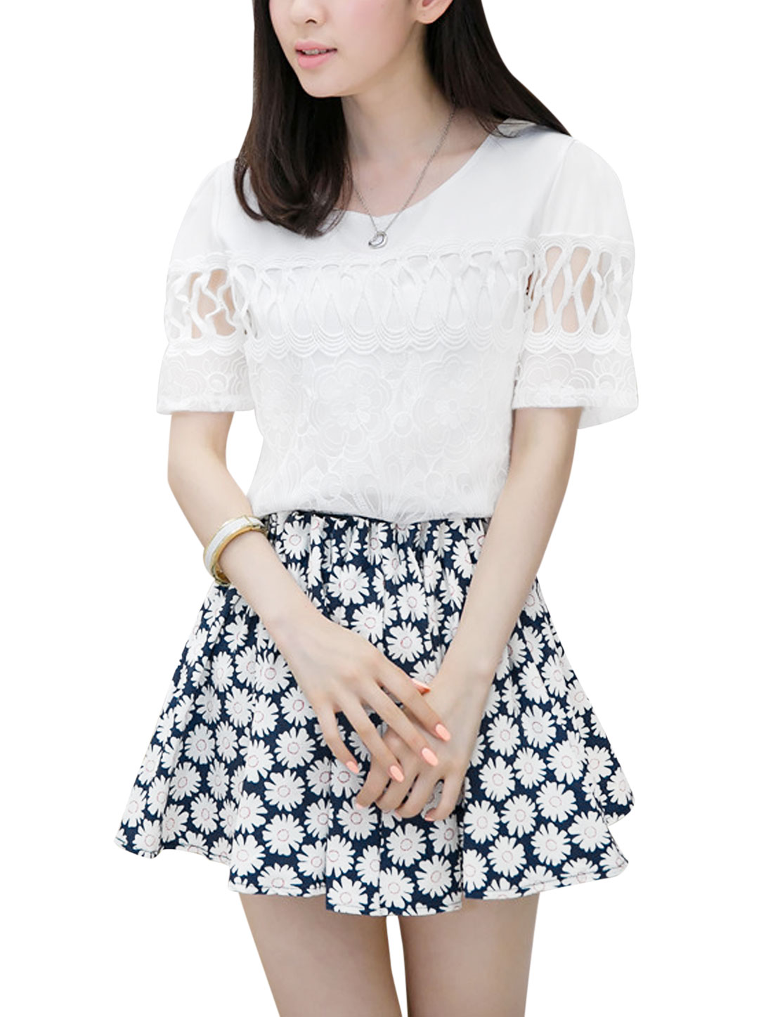 Lady Chiffon Mesh Panel White Blouse w Allover Floral Print Blue Skirt S