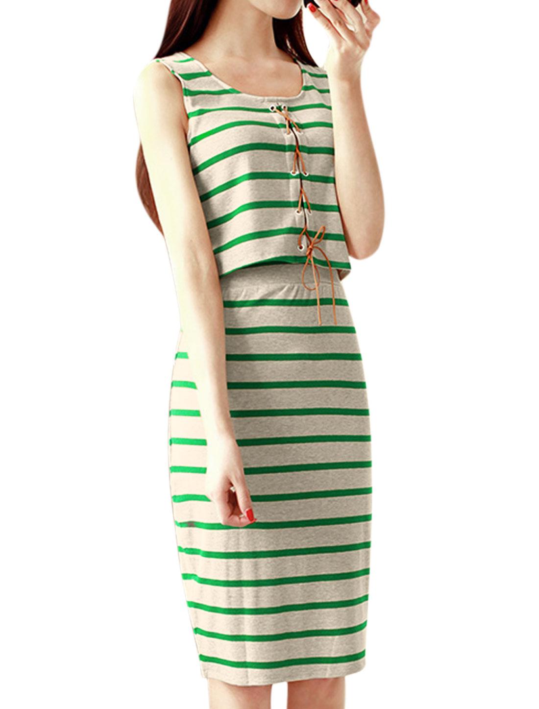 Women Stripes Tank Top w Elastic Waist Pencil Skirt Set Green Light Gray XS