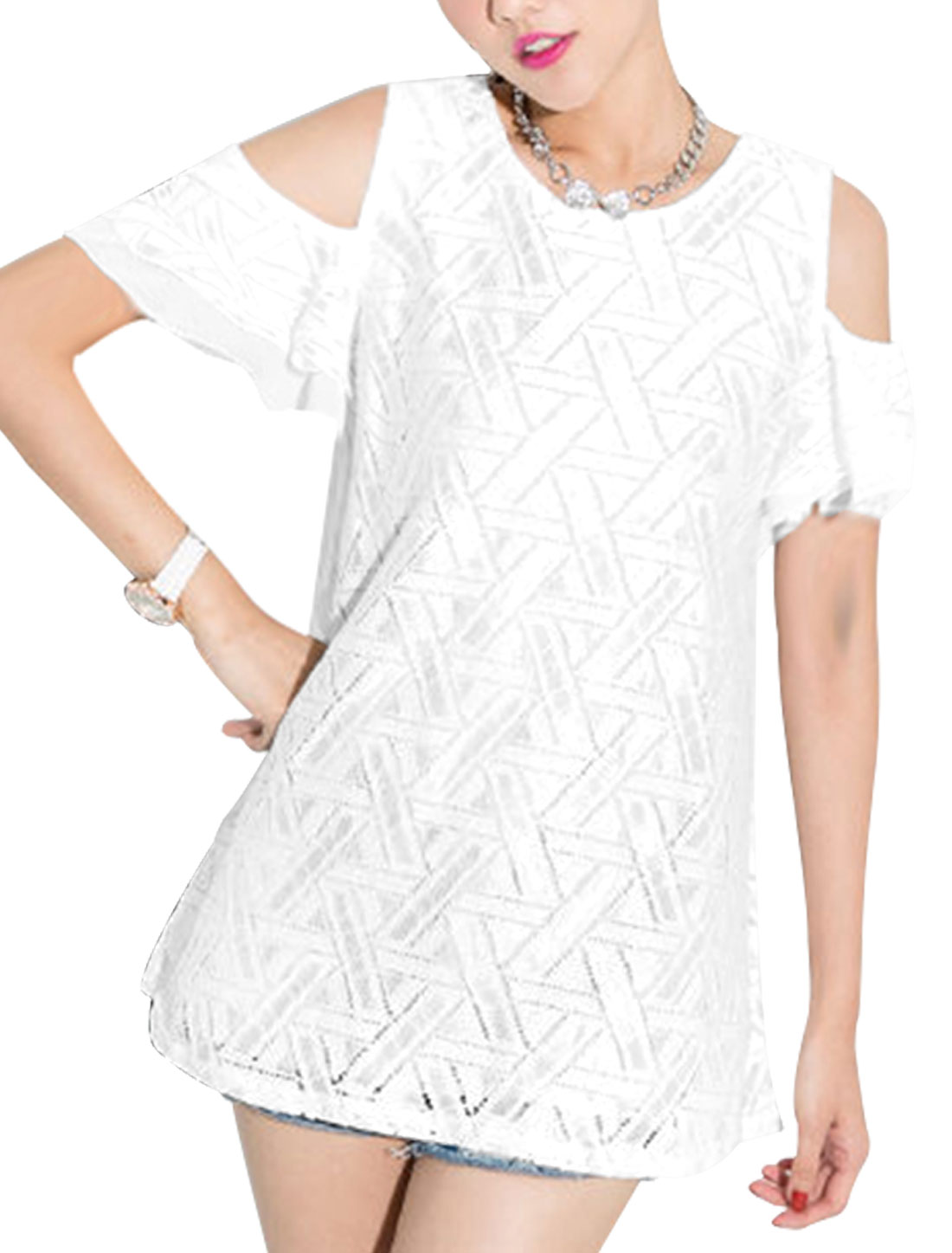 Lady Layered Sleeve Geometric Prints Half Lined Tunic Top White XS