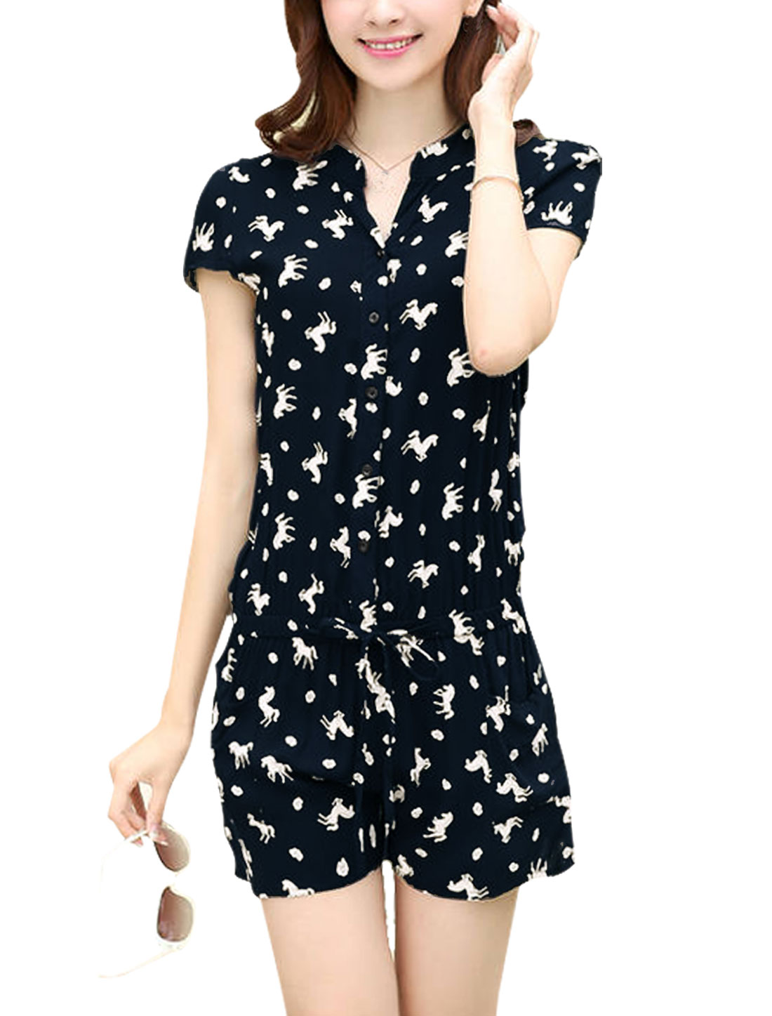 Lady Single Breasted Cap Sleeve Drawstring Waist Horse Prints Romper Navy Blue S