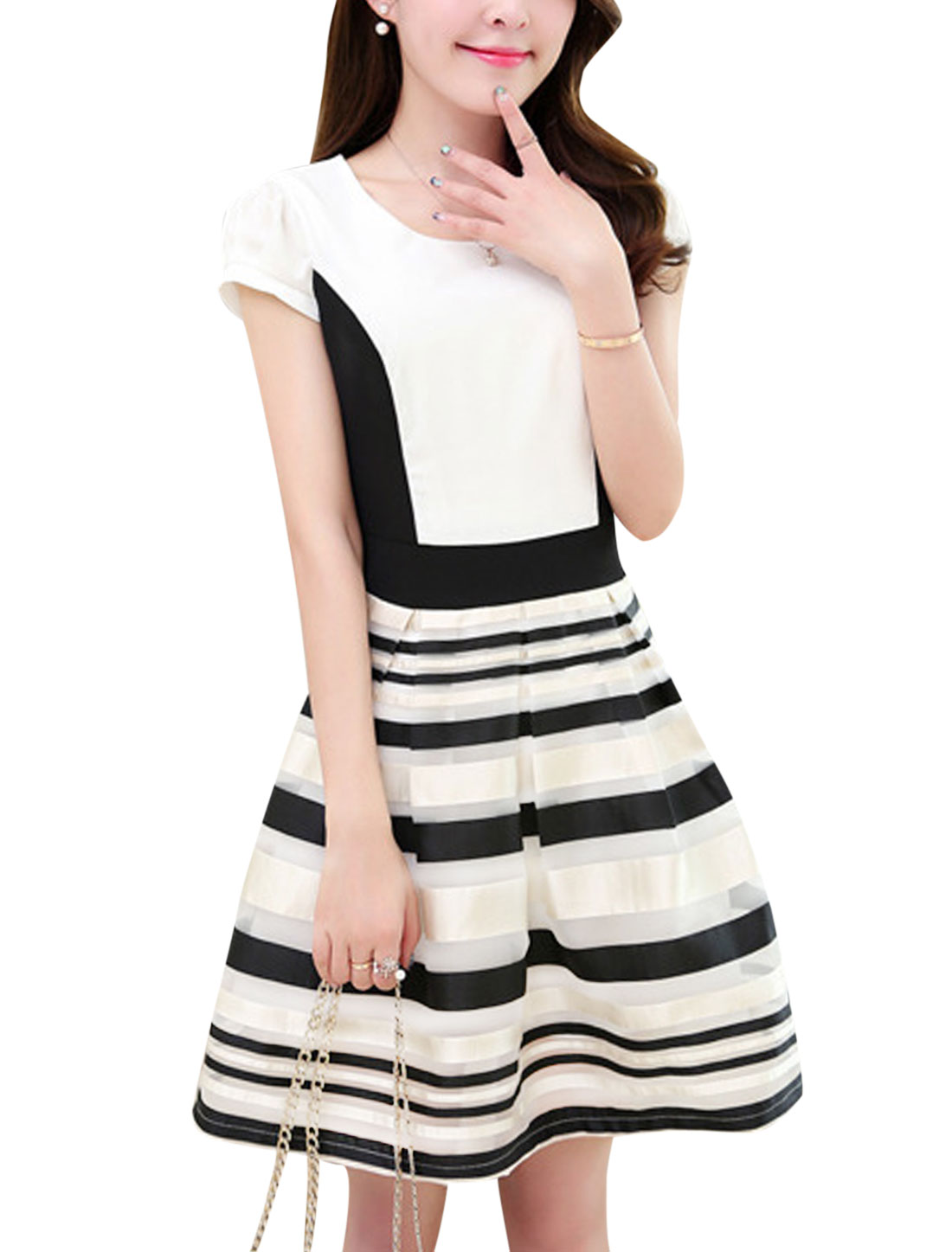 Lady Concealed Zipper Back Stripes Organza Overlay Dress Black White M