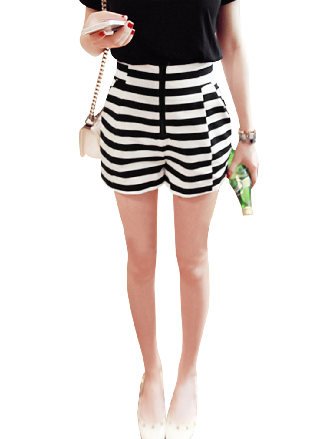 Ladies Stripes Pattern Zipper Fly Cozy Fit Fashion Shorts Black White XS