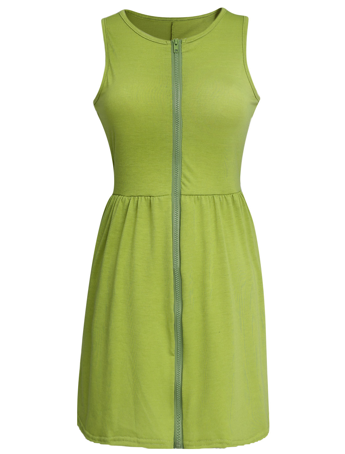 Lady Sleeveless Zip-Front Double Side Pockets Shirt Dress Moss Green XS