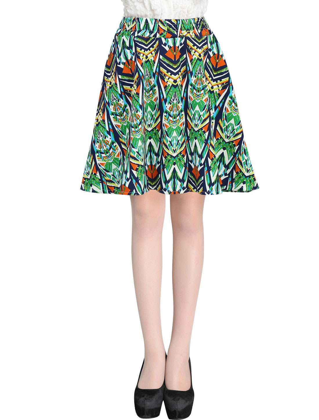 Ladies Summer Zipper Fly Novelty Prints Mini Skirt Multicolor XS